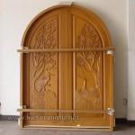 Pintu Jati Solid Ukiran Angsa dan Pohon Kode ( KPK 229 )