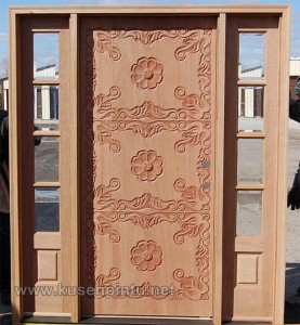 Pintu Rumah Daun Ukir Klasik Mahogany